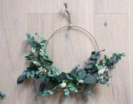 Suspension -Couronne murale - Feuillage Eucalyptus stabilisé - Fleurs séchées - Le Jardin d'Audrey - 3